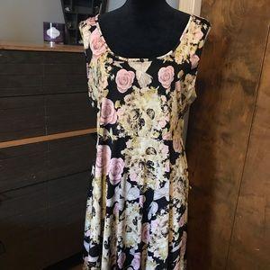 Dresses & Skirts - Floral skull skater dress